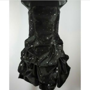 Black & Silver Strapless Short Puffy Formal Dress